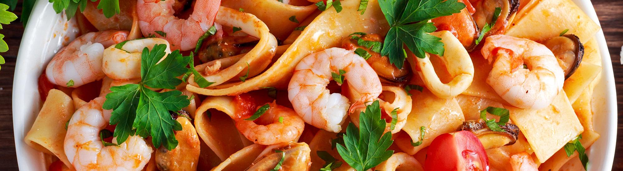 ricetta Pappardelle con gamberetti, cozze e pomodorini con pasta fresca