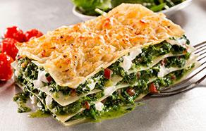 Lasagne con spinaci e pomodori secchi