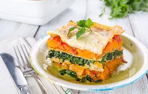 Lasagna con zucca e spinaci
