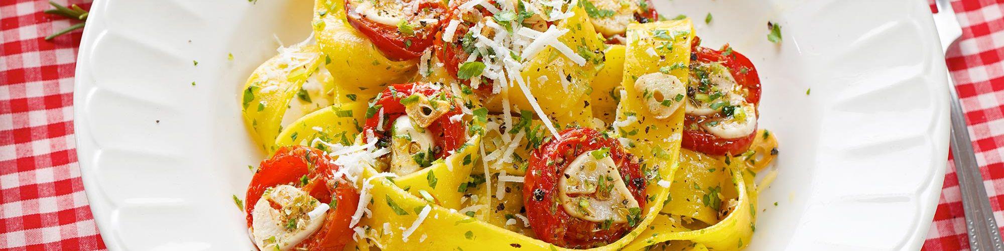 ricetta Pappardelle con pomodorini ripieni con pasta fresca