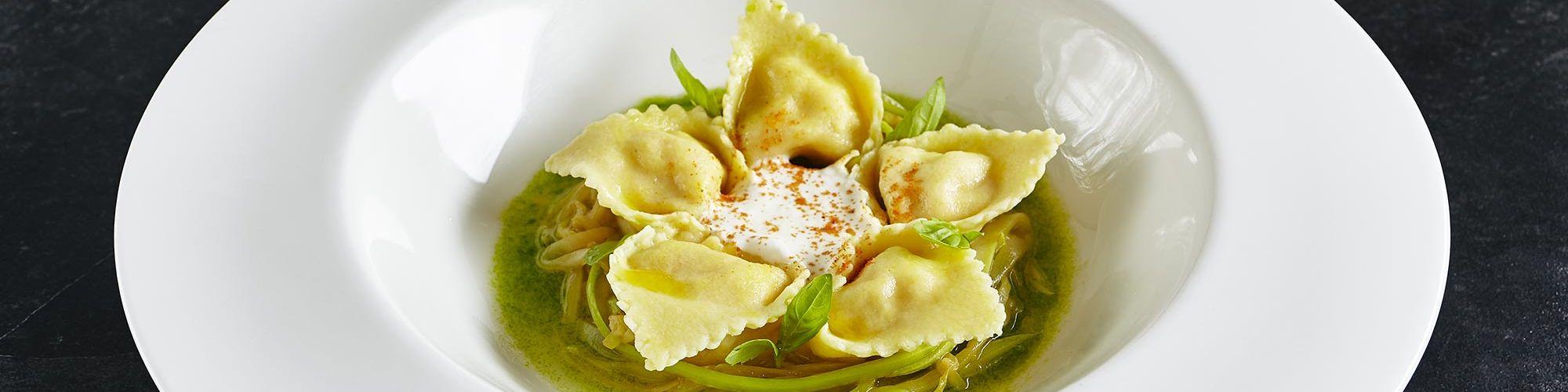 ricetta Tortelloni con ricotta, gamberetti e zucchine con pasta fresca